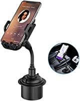 Car Cup Holder Phone Mount, Adjustable Gooseneck Cupholder Cell Phone Cradle with 360° Rotatable Holder for iPhone XR Xs...