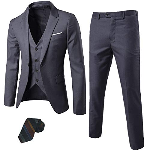 MY'S Men's 3 Piece Suit Blazer Slim Fit One Button Notch Lapel Dress Business Wedding Party Jacket Vest Pants & Tie Set Dark ()