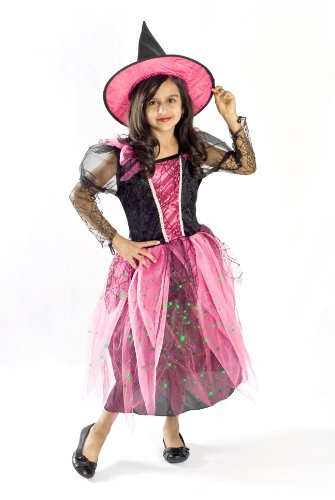 Witch Costume for Girls Black Light up Pink