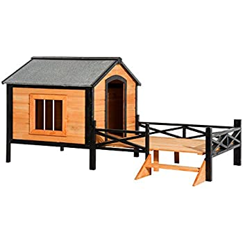 Amazon.com : Large Dog House Lodge with Porch Deck Kennels