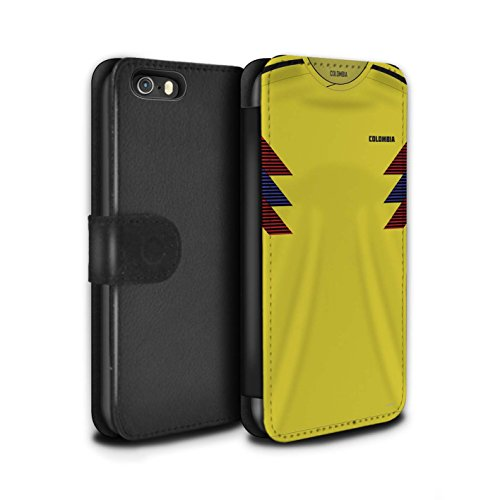 - STUFF4 PU Leather Wallet Flip Case/Cover for Apple iPhone SE/Colombia/Colombian Design/World Cup 2018 Football Shirt Collection