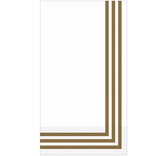 """Amscan Party Ready Classic Stripe Guest Towels Tableware, Gold, Paper, 4"""" X 7"""", Pack of 16 Others Supplies, 96 Pieces"""