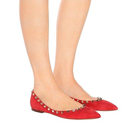 Vocosi Scarpe A Punta Per Donna, Borchie Moda Borchie Comfort Ballerine Rosse (finto Camoscio)