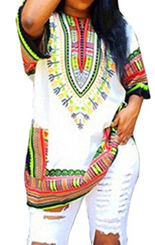 Jaycargogo Femmes Court Robe Décontractée Impression Bohème Millésime Robe Blanche Courte