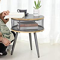 Kjrjd Modern Farmhouse Side End Table Metal Grid Design