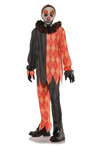 Evil Halloween Clown Teen Costume Black / Orange Teen -