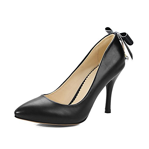 Odomolor Women's PU High-Heels Pointed-Toe Solid Pull-On Pumps-Shoes, Black, 34
