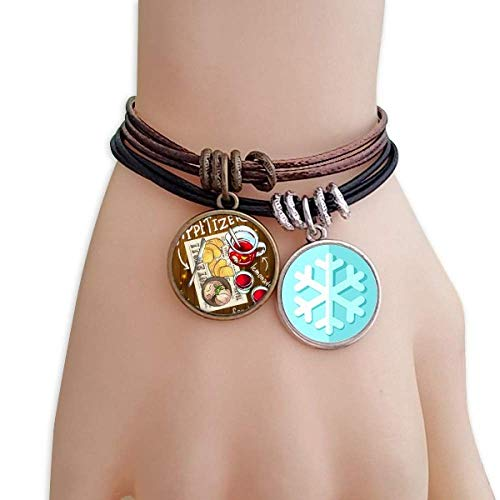 Appetizer Snowflake - DIYthinker Appetizer Lemonade Steak France Christmas Snowflakes Leather Rope Bracelet