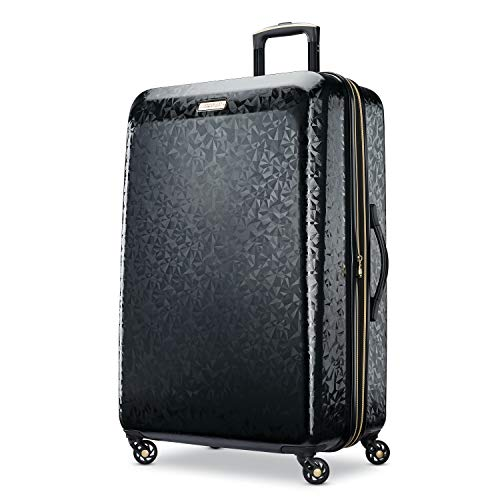 American Tourister Belle Voyage Hardside Luggage with Spinner Wheels, Black, Checked-Large 28-Inch