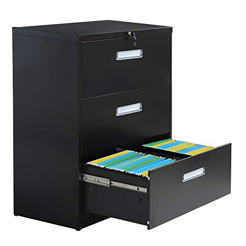 Metal Vertical File Cabinet with Lockable System Office Organizer Storage Lateral Filing Cabinet (Black, 3 Drawers)