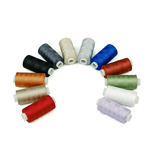(Simthread 12 Multi Colors All Purposes Cotton Quilting Thread 50s/3 Thread for Piecing Sewing etc - 550 Yards Each)