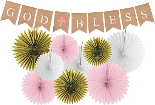 God Bless Baptism Banner for Girl | First Communion Party Banner | Christening Decorations for Wedding | Baby Baptism Decorations for Girls | 9 Premium Glittering Matching Paper Fans]()