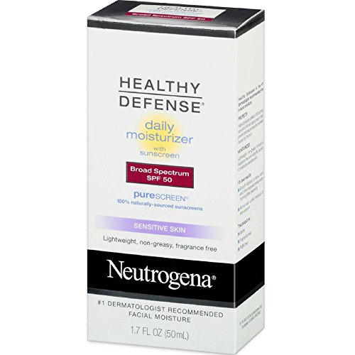 Neutrogena Healthy Defense Daily Moisturizer for Sensitive Skin with SPF 50, Mineral Sunscreen with Zinc Dioxide & Titanium Dioxide, Oil-Free & Fragrance-Free, 1.7 fl. oz (Pack of 2)