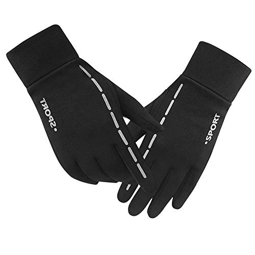 Touch Screen Gloves with light-reflecting strips attached for Warning and Safety in the night time. Warmer Winter Gloves for Men and Women. Cold weather Outdoor Wind-proof Sport Gloves for ()