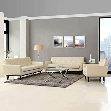 Engage 3 Piece Leather Living Room Set In Beige