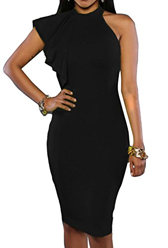 ZKESS Womens Sleeveless Key Hole Back Sexy Bodycon Clubwear Dress Medium Size Black (Sexy Black Wedding Dress)