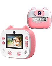Dragon Touch Instant Print Kids Camera, InstantFun2 Digital Camera with Dual Camera Lens, Print Paper, Cartoon Sticker, Color Pens and Camera Bag for Girls and Boys (Pink)