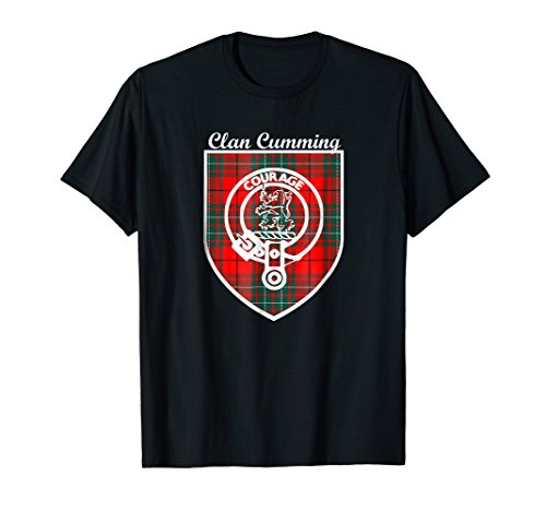 Cumming surname Scottish clan tartan crest badge t-shirt