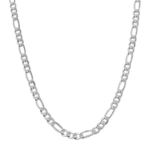 14k White Gold Figaro 100 4.50MM 10'' Anklet by Decadence