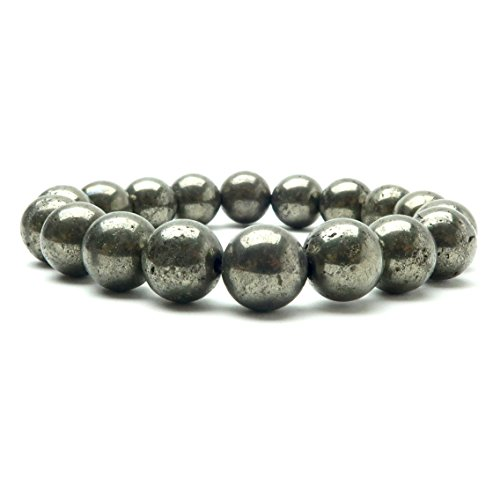 Pyrite Bracelet 04 - Genuine Fools Gold 9-10mm Round Stones Stretch (7.5 Inches)