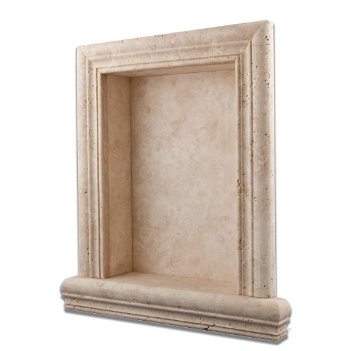 Ivory Travertine Hand-Made Honed Shampoo Niche / Shelf - LARGE by Oracle Moldings