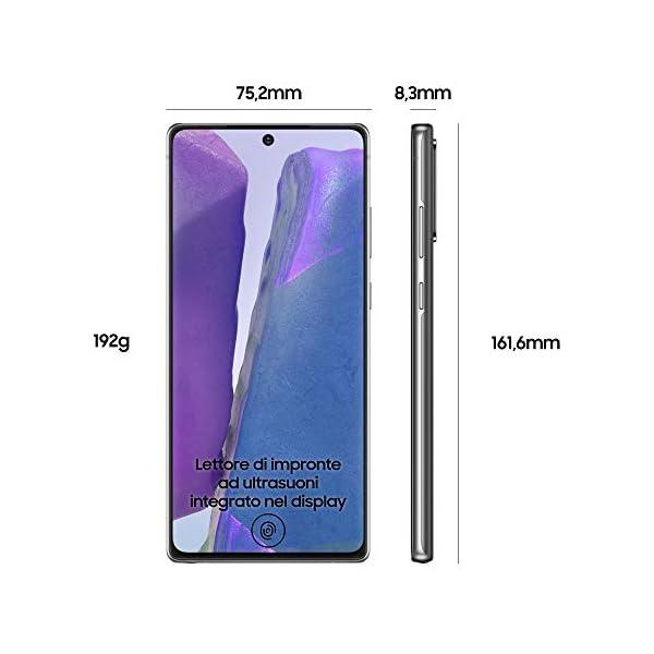 "Samsung Galaxy Note20 Smartphone, Display 6.7"" Super Amoled Plus Fhd+, 3 Fotocamere Posteriori, 256Gb, Ram 8Gb, Batteria 4300 Mah, Dual Sim + Esim, Android 10, Mystic Gray [Versione Italiana] 2"