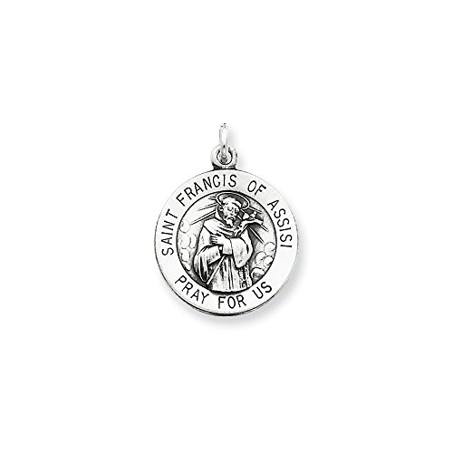 (Sterling Silver Antiqued Saint Francis of Assisi Medal (0.79 in x 0.63 in))