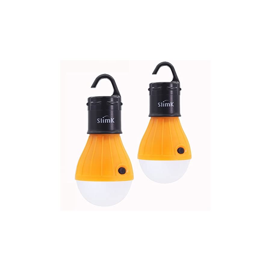 SlimK 2 Pack Portable LED Lantern Tent Light Bulb for Camping Hiking, Battery Powered Camping Equipment for Outdoor & Indoor