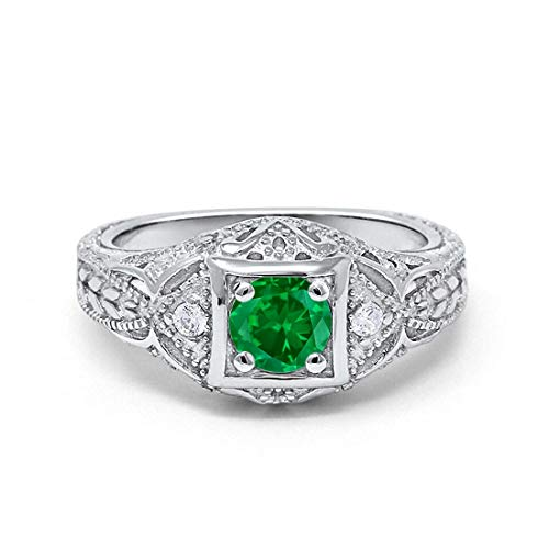 Blue Apple Co. Art Deco Antique Style Wedding Engagement Ring Simulated Emerald Round Cubic Zirconia 925 Sterling Silver, Size-9