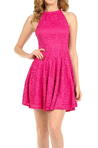 Auliné Collection Womens Halter Sleeveless Floral Lace Skater Dress Fuchsia Small ()