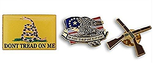 Patriotic American Right to Bear Arms 3-Piece Lapel or Hat Pin & Tie Tack Set with Clutch Back by Novel (Different Costumes United Nations Day)