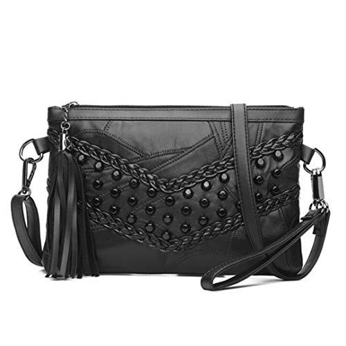 Retro Rivet Shoulder Bags Messenger Bag Genuine Leather Lady Crossbody Bag Black Handbag Clutch Purse Black 24x3x17cm