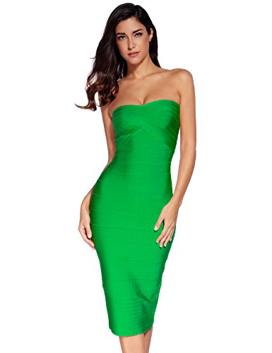 0a37ab9a551 Meilun Women s Knee Strapless Bandage Bodycon Party Dress - Import ...