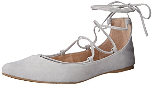 Steve Madden Women's Eleanorr Pointed Toe Flat, Light Grey Suede, 7.5 M US (Flats Ballet Toe Point)