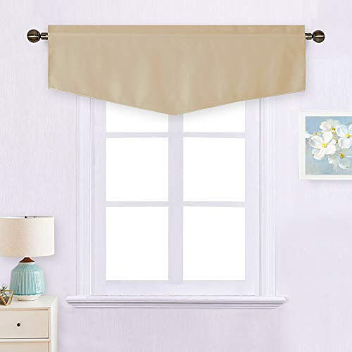 NICETOWN Room Darkening Window Valance - Ascot Rod Pocket Thermal Insulated Fashion Solid Curtain Decoration Valance for Kitchen/Living Room/Bedroom, 52W by 18L inches, Biscotti Beige, 1 Panel