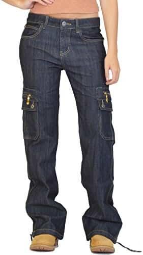 Wide Leg Denim Cargo Pants Combat Jeans