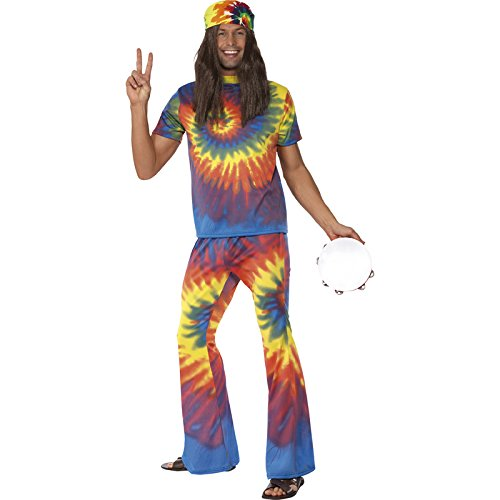 [Smiffy's Men's 1960's Tie Dye Costume, Top and Flared pants, 60's Groovy Baby, Serious Fun, Size M,] (Tie Dye Dress Costume)