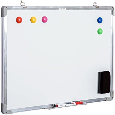 HOMCOM Whiteboard Magnettafel Wandtafel Weißwandtafel magnetisch mit Alurahmen inkl. Boardmarker Boardlöscher und Haftmagneten 60x45 cm