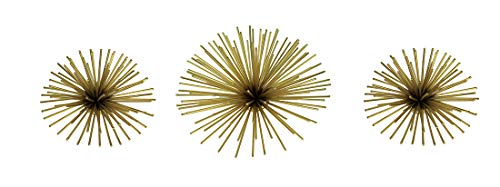 A&B Home Metallic Gold Metal 3D Bursting Star Wall Hanging Set of 3