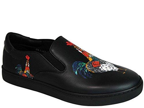 Dolce E Gabbana Homme CS1365AG728HN692 Noir Cuir Chaussures De Skate