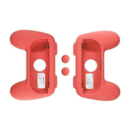 Amazon Basics Grip Kit for Nintendo Switch Joy-Con Controllers – Red