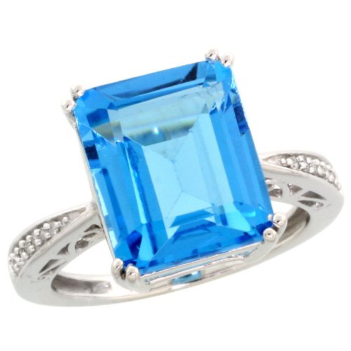 (10k White Gold Rectangular Stone Ring, w/ 0.05 Carat Brilliant Cut Diamonds & 6.97 Carats (12x10mm) Emerald Cut Blue Topaz Stone, 1/2 in. (13mm) wide, size 7)