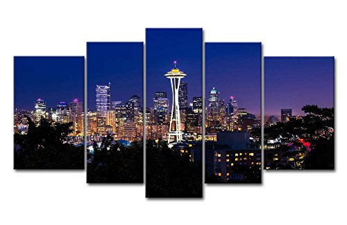 (So Crazy Art 5 Piece Wall Art Painting Seattle High Building At Dusk Prints On Canvas The Picture City Pictures Oil For Home Modern Decoration Print Decor For Girls)