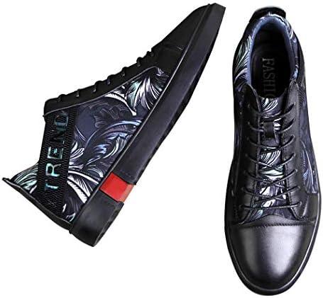 レザースニーカー メンズ スニーカー 花柄 かっこいい 革靴 ハイカット カジュアル ブーツ 黒