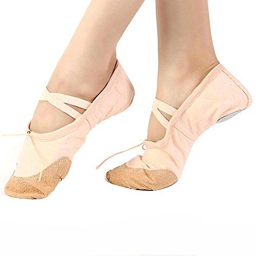 Pantofole Bhydry Ballet Pointe Dance Canvas Donna Adult Beige Ginnastica Scarpe rxYgxqwE