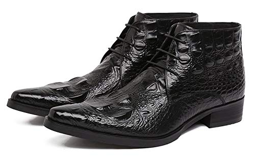 (SANTIMON Mens Ankle Dress Boots Genuine Alligator Leather Lace up Causal Boots Black 42)