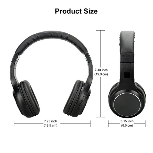 Wireless Headphones, V4.0 Stereo Bluetooth Headphones with Microphone Over-Ear Foldable Portable Music Headsets for Cellphones Laptop Tablet TV Headphones (Black) by Konstar (Image #5)
