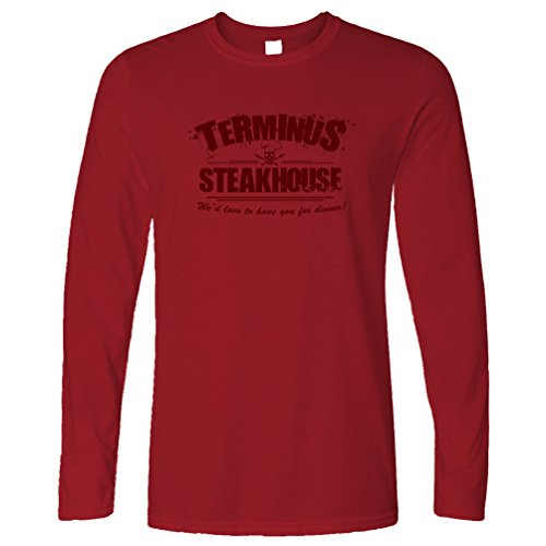 Tim And Ted Zombie Long Sleeve Terminus Steakhouse Restaurant Logo Deep Red XL - Sleeve Funny Zombies Long
