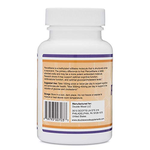 41hHhkFWs%2BL - Pterostilbene 100mg Capsules (Third Party Tested) Made in The USA, 60 Capsules, Superior to Resveratrol (Antioxidant, Anti Aging Support Supplement) by Double Wood Supplements