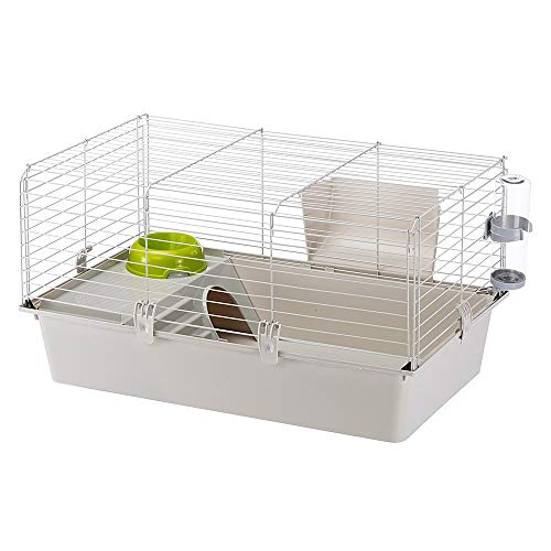 Cavie Guinea Pig Cage | Includes Free Water Bottle, Hay Feeder, Food Bowl & Guinea Pig Hide-Out | Guinea Pig Cage Measures 30.3L x 18.5W x 16.5H-Inches & Includes 1-Year Manufacturer's Warranty